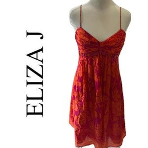 Eliza J Size 8 Sundress Silk Orange Pink Floral